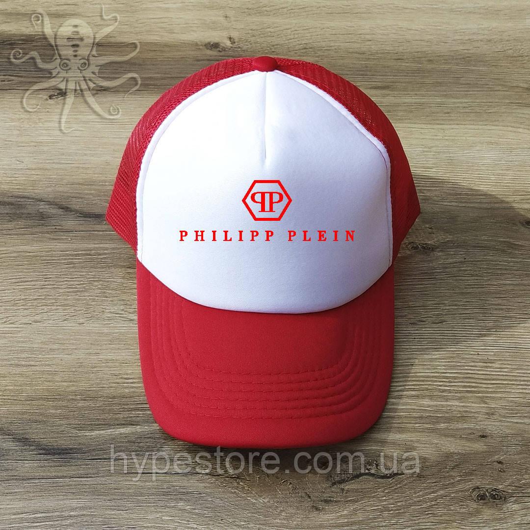 Мужская красная кепка-тракер, бейсболка Philipp Plein (красный лого), Реплика