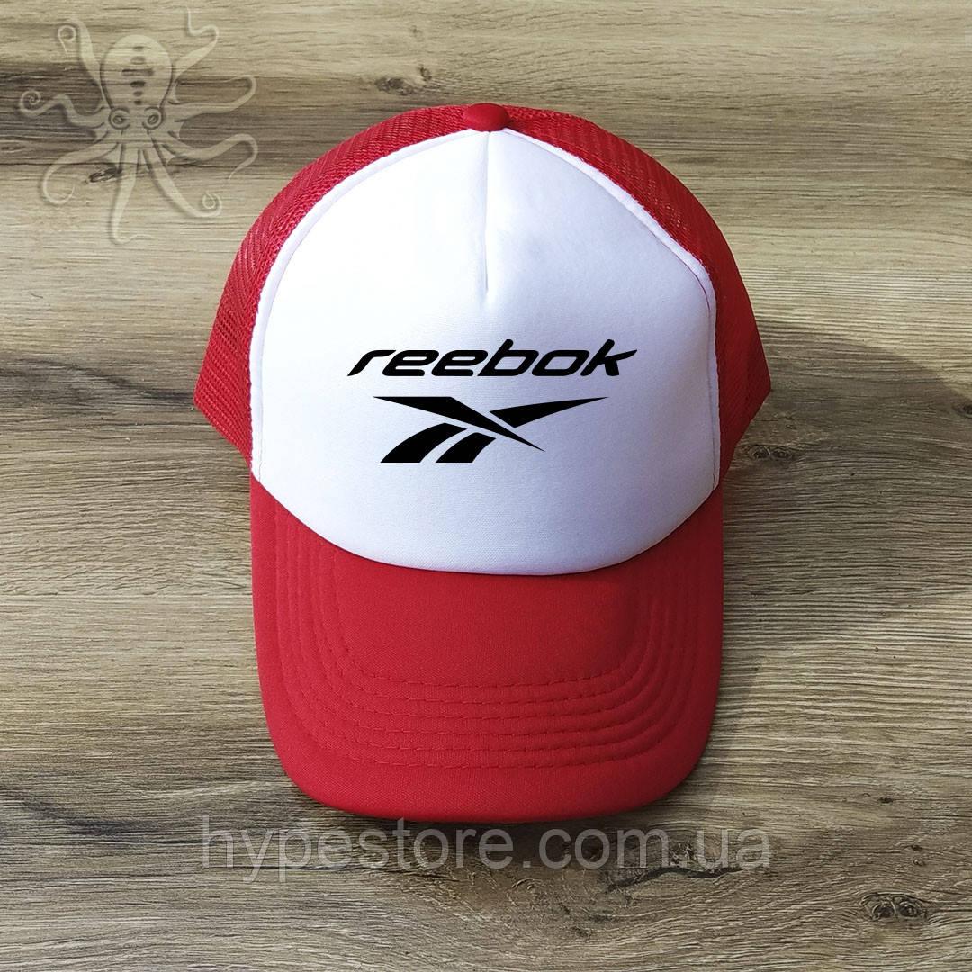 Мужская красная кепка-тракер, бейсболка Reebok (черный лого), Реплика