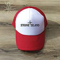 Мужская красная кепка-тракер, бейсболка Stone Island (черный лого), Реплика