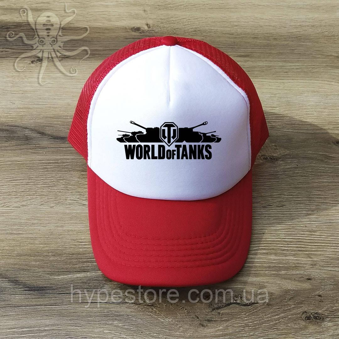 Мужская красная кепка-тракер, бейсболка World Of Tanks (черный лого), Реплика