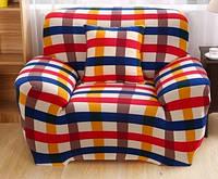 Чехол на кресло Homytex бифлекс одноместный Клетка красно-синяя 90*140 см арт.6-12212
