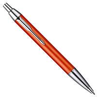 Ручка шариковая Паркер Премиум, оранжевая, хром