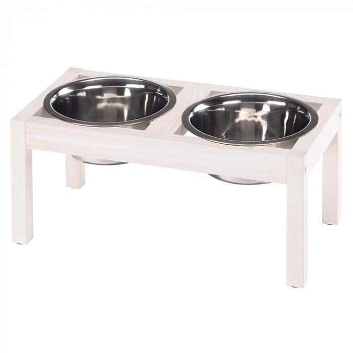 Миски для собак и кошек на деревянной подставке Ferplast DESCO WOOD 03