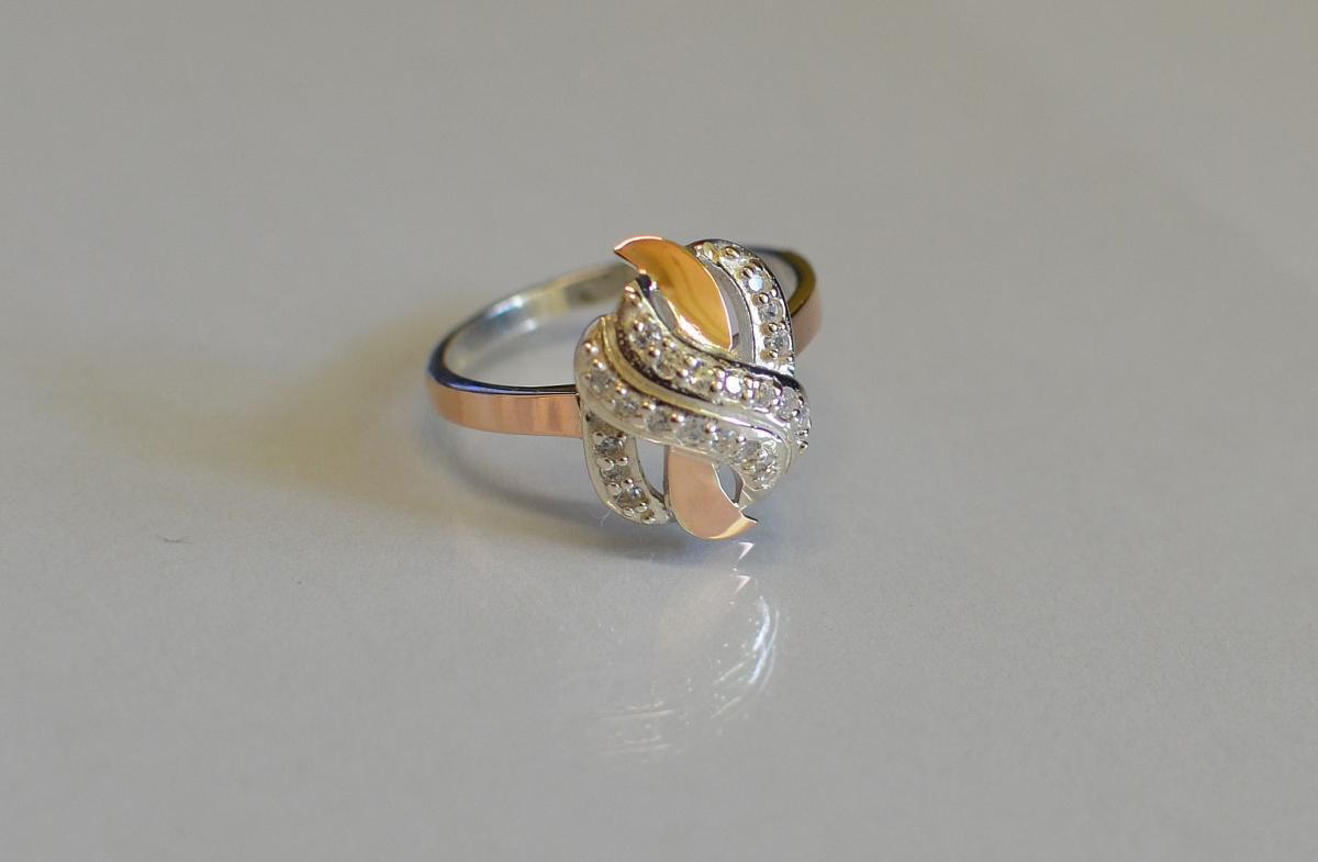Кольцо серебряное с золотыми пластинами