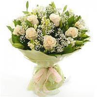 Роза кремовая 50см в букете 11шт