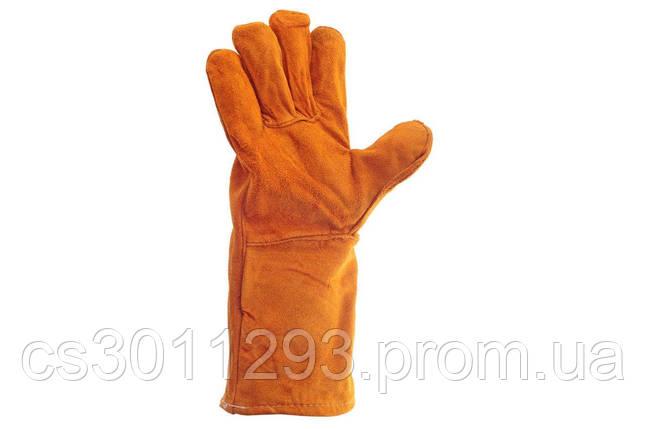 """Перчатки Intertool - замшевые краги 35 см х 14"""" (коричневые), фото 2"""