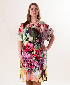 Туника, пляжное платье Акварель, р-ры 50-56, опт 170 грн.