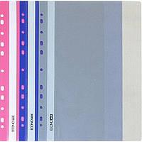 Папка-скоросшиватель Economix E31508-12 А4 с перфорацией рифленая прозрачный верх фиолетовая