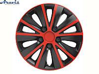 Авто колпаки для дисков на колеса R13 красные с черным Rapide