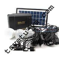 Набор для освещения, аккумулятор, солнечная батарея, GD-8017, переносной фонарь, 3 лампы, зарядка гаджетов