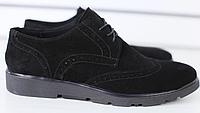 Туфли мужские Оксфорд замшевые черные, фото 1