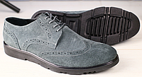 Туфли мужские Оксфорд замшевые серые, фото 1