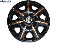 Авто колпаки для дисков на колеса R13 черные с золотым Opus