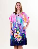 Туника, пляжное платье Акварель, р-ры 52-58, опт 170 грн.