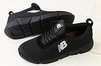 Кроссовки New Balance текстильные черные с перфорацией, фото 1