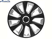 Авто колпаки для дисков на колеса R15 черные с серым Stratos