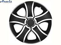 Авто колпаки для дисков на колеса R16 черные с серым Bis mix