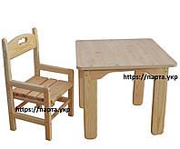 Детский стол и стул растущий, сосновый, фото 1