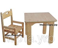 Детский стол и стул растущий, сосновый