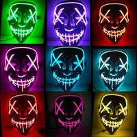 Светящаяся LED Маска для Вечеринок, выступлений, Хэллоуин