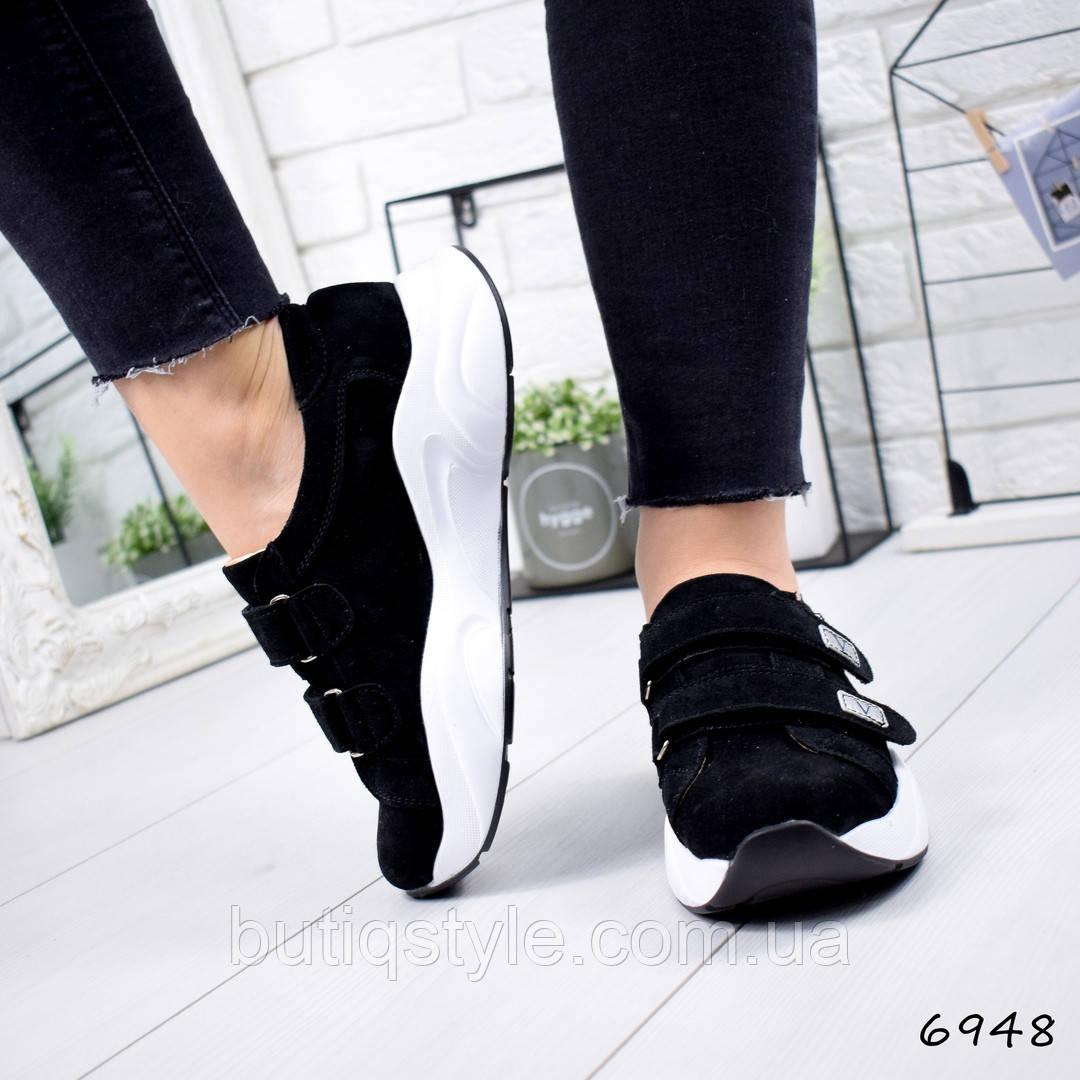 37 размер! Женские кроссовки черные Jekki натуральная замша, на липучках