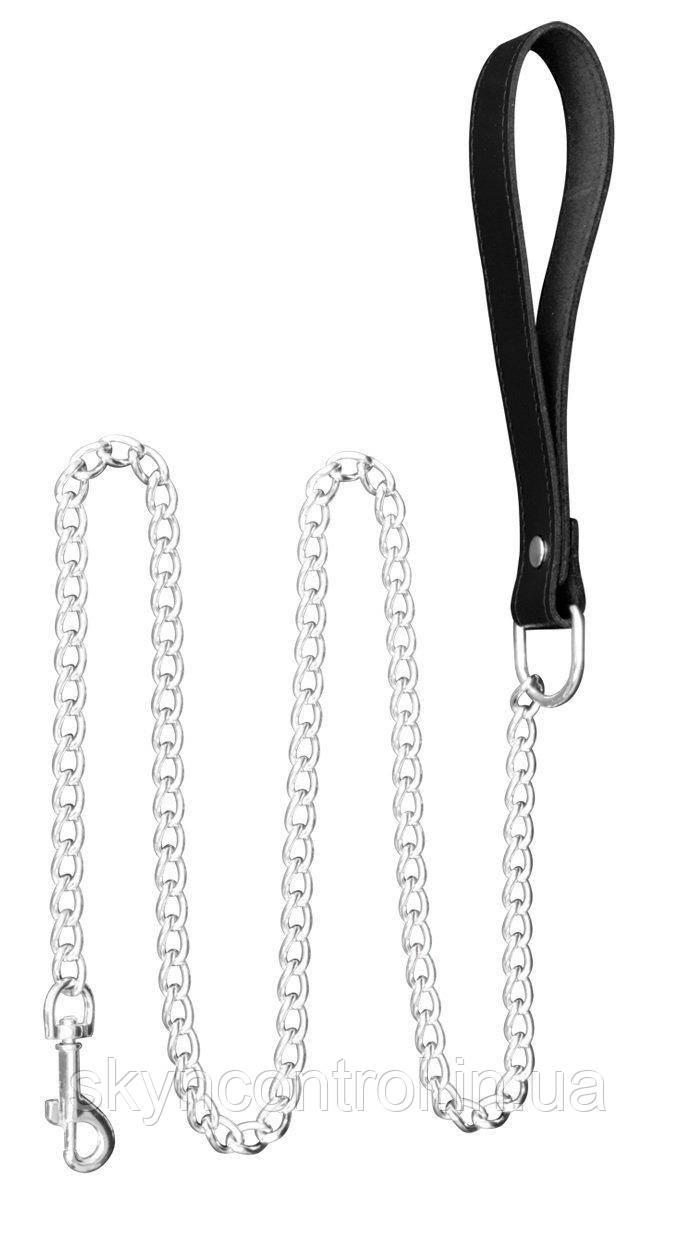 Tula-ToysSM поводок 1 метр из нержавеющей стали БДСМ цепочка 100см. Эротический кожаный ошейник