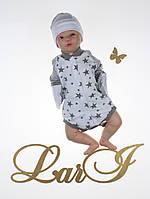 """Детский бодик для новорожденных """"Звездопад"""", белый, 56-62 р."""