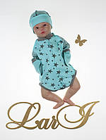 """Детский бодик для новорожденных """"Звездопад"""", ментоловый, 56-62 р., фото 1"""