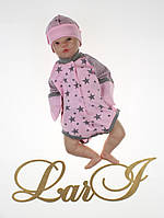 """Детский бодик для новорожденных """"Звездопад"""", розовый, 56-62 р."""