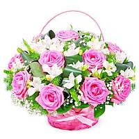 Корзинка  с розой 15шт и альстромерией