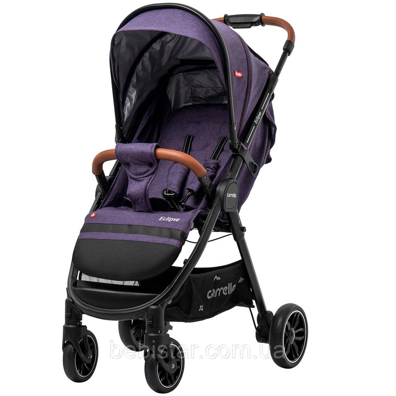Детская прогулочная коляска фиолетовая Carrello Eclipse в льне черная рама чехол на ножки дождевик