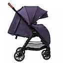 Детская прогулочная коляска фиолетовая Carrello Eclipse в льне черная рама чехол на ножки дождевик, фото 2