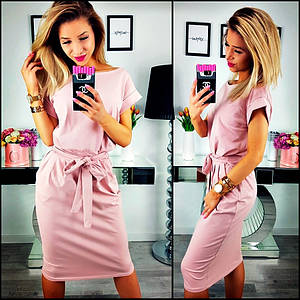 Свободное платье розовое с поясом короткие рукава миди 44