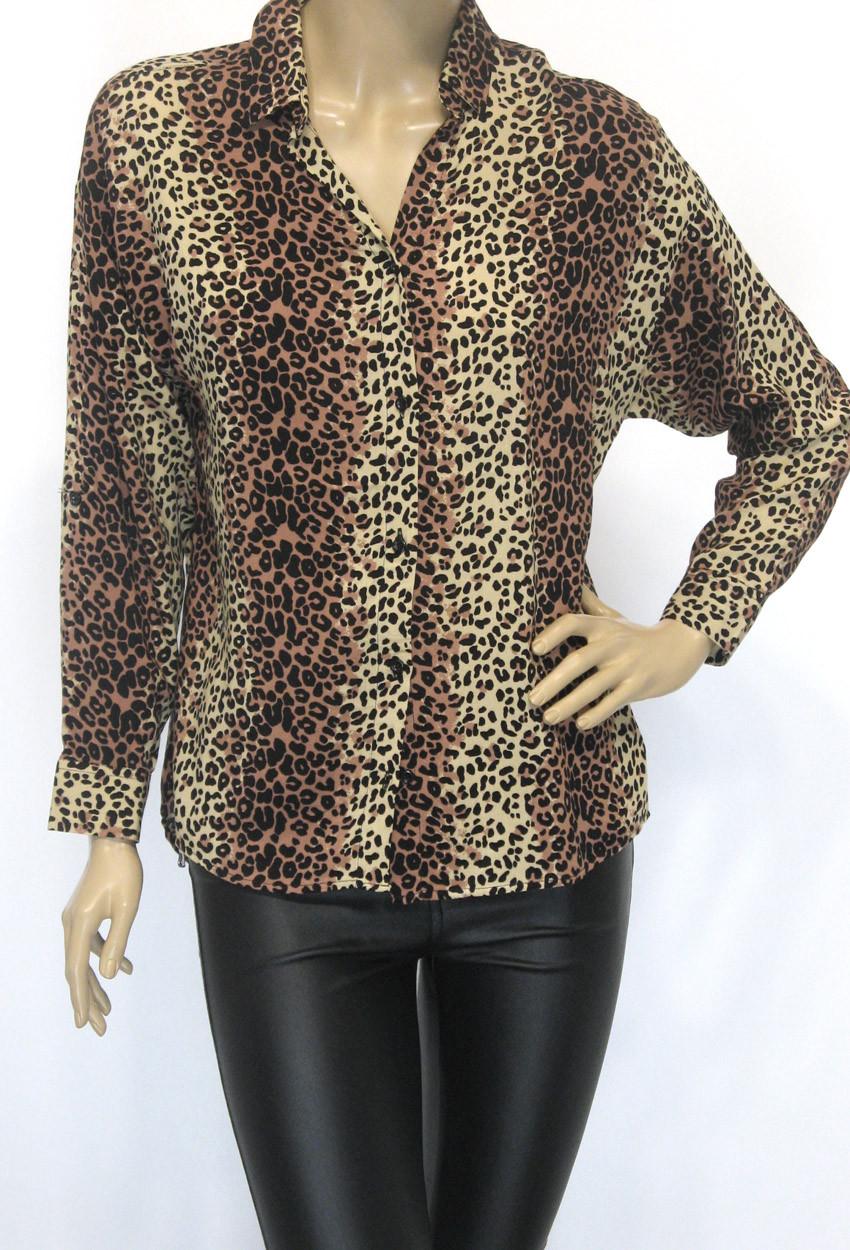 64038461154612 Жіноча блузка сорочка з леопардовим принтом - магазин ШАЛЕНА МОДА Львів  вул.Наукова 64 в
