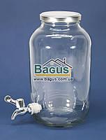 Емкость для напитков (лимонадница) 4,25л стеклянная ПРОЗРАЧНАЯ с краником