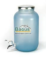 Емкость для напитков (лимонадница) 4,25л стеклянная ГОЛУБАЯ с краником