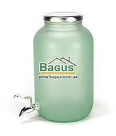 Емкость для напитков (лимонадница) 4,25л стеклянная ЗЕЛЕНАЯ с краником