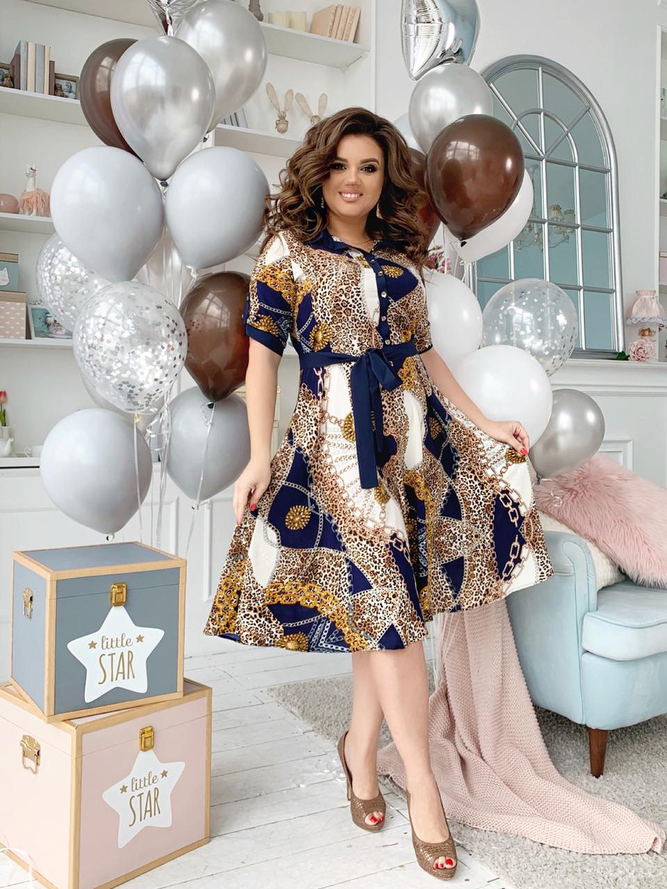 Платье рубашка БАТАЛ  принт в расцветках  461073
