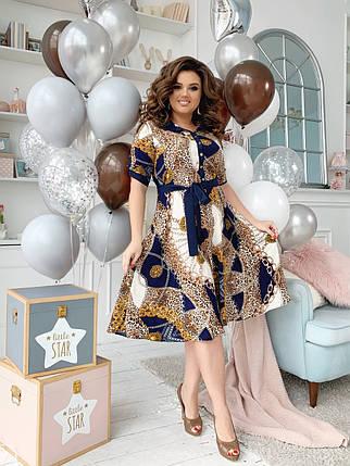 Платье рубашка БАТАЛ  принт в расцветках  461073, фото 2