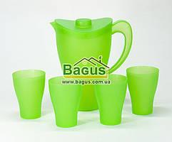 Набор питьевой кувшин 2л + 4 стакана 250мл пластиковый ЗЕЛЕНЫЙ Алеана ALN-169041-1
