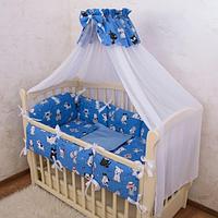 """Постельное белье для детской кроватки """"Веселі звірята-7"""" Поплин, с защитой на бортики"""