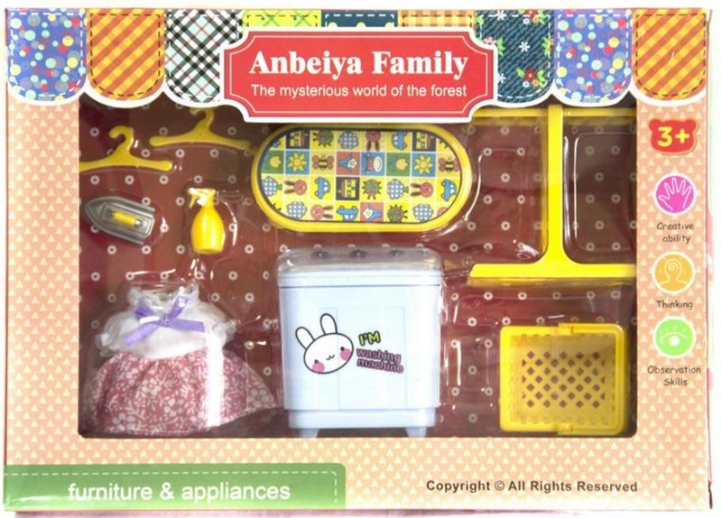 Мебель для флоксовых животных 1513B Happy Family стиральная машина в короб 26*19*6см