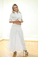 Длинная летняя белая юбка в пол