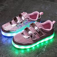 Pink Summer Kids, Розовые кроссовки с подсветкой LED (USB подзарядка), размер 25,26 (LK 1035)