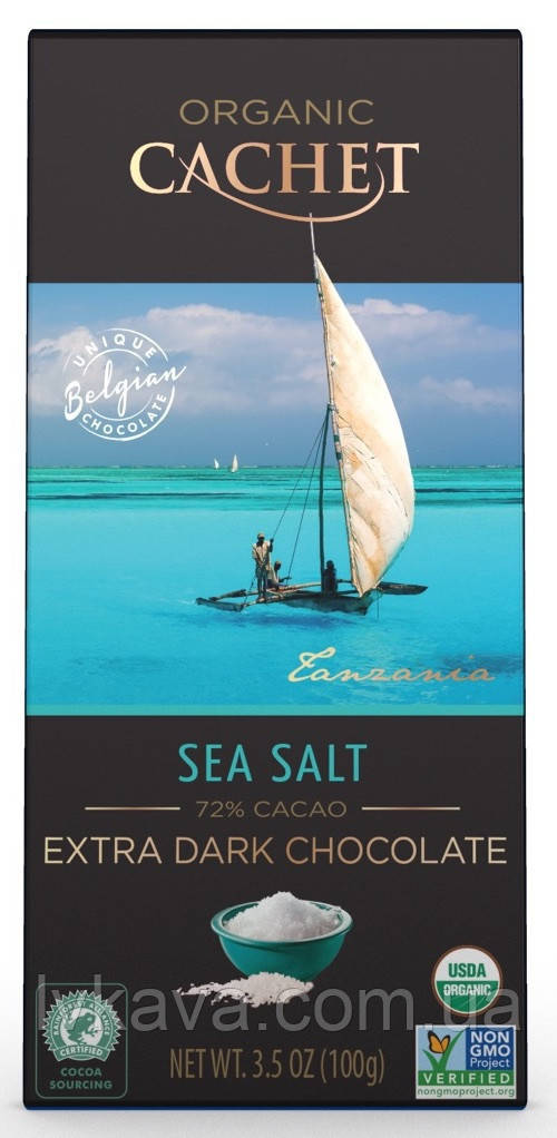 Экстра черный  шоколад Cachet  75 % какао с морской солью Organic , 100 гр