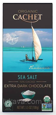 Экстра черный  шоколад Cachet  75 % какао с морской солью Organic , 100 гр, фото 2