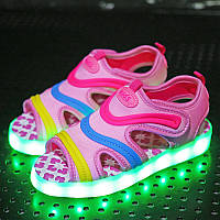 Pink summer step, Босоножки розовые светящиеся LED(USB подзарядка), размеры 27-31 /LK 1036