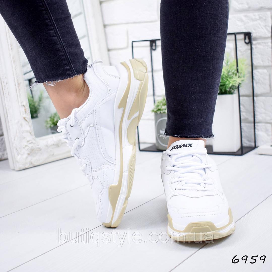 36, 41 размер! Кроссовки белые+беж женские эко-кожа, весна 2019