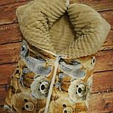 Утепленный конверт-плед Плюш на молниях   Мишки, фото 2