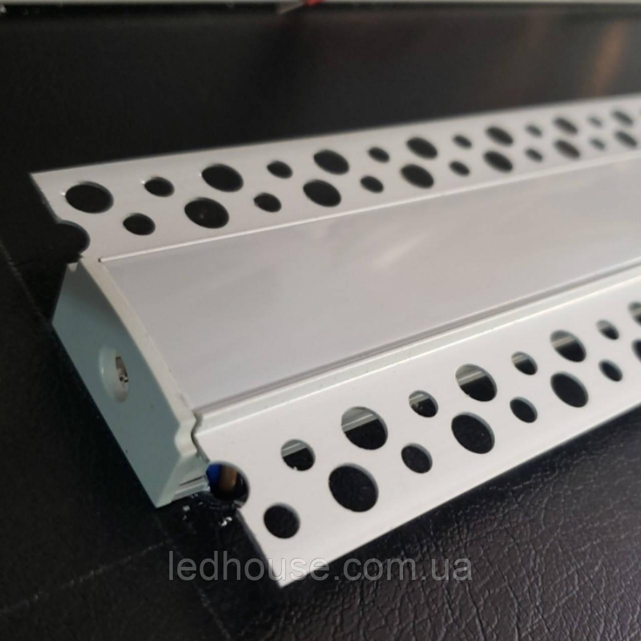 Светодиодный встроенный профиль с Рассеивателем в гипсокартон под штукатурку